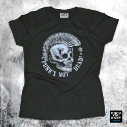 Koszulka damska z czachą i napisem Punk's Not Dead! (W/B/BL)
